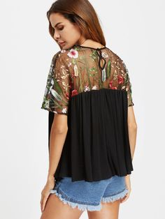 28c71651159 Online shopping for Embroidered Mesh Shoulder Buttoned Keyhole Back Smock  Top from a great selection of