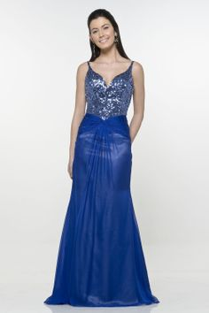 Glaring Blue V-Neck Beads & Sequins Working Organza Satin Mermaid Sweep Train Evening Dress - Evening Dresses - Special Occasion Dresses