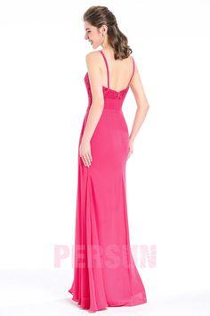 36597c5307c Robe rose fuchsia longue de soirée bustier coeur avec bretelles fines ornée  de bijoux - Robedesoireelongue