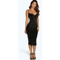Boohoo Grace Metallic Strappy Midi Bodycon Dress (1,200 INR) ❤ liked on Polyvore featuring dresses, mid calf dresses, midi body conscious dress, bodycon midi dress, boohoo dresses and zipper dress