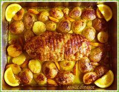 Μία συνταγή για γιορτινά αλλά και καθημερινά τραπέζια  Υλικά: 1 Κοτόπουλο τυλιγμένο σε ρολό. Πείτε στο χασάπη σας... Greek Dishes, Sprouts, Sausage, Cooking Recipes, Meat, Vegetables, Foods, Drinks, Kitchens