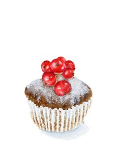 A painting of a red currant chocolate cupcake that makes me happy. Cupcake Kunst, Cupcake Art, Cupcake Drawing, Cupcake Illustration, Dessert Drinks, Desserts, Watercolor Food, Art Watercolour, Watercolor Walls