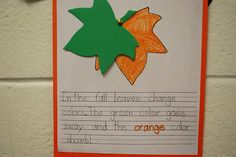 A language arts activity that ties in with fall science content