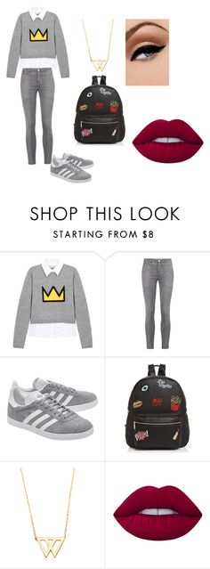"""""""escola"""" by clarallado on Polyvore featuring Alice + Olivia, Current/Elliott, adidas Originals, Ollie & B, Grayson, Avon and Lime Crime"""