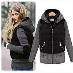 Women's Patchwork Black Coats & Jackets , Casual Cowl Long Sleeve