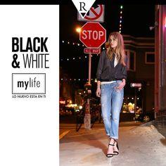 Combina tus jeans favoritos de noche con tacos, se te verá relajada y moderna a la vez. #Black&White #MyLife #Tendencias #MeFascinaRipley