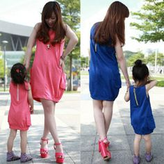 mobile site-Family fashion clothes for mother and daughter summer female child sleeveless vest casual one-piece dress lantern skirt