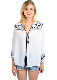 Boho Inspired Tassel Blouse White - Happiness Boutique