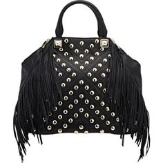 Rebecca Minkoff Studded Rylan Tote ($399) ❤ liked on Polyvore featuring bags, handbags, tote bags, black, studded purse, tote, black tote bag and black handbags