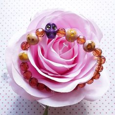Halloween purple skull with pink beads bracelet only $14.95  by WithLoveFromLiz