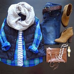 stripes under plaid and vest.