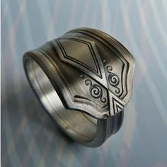 Deco Antique silver plated spoon ring