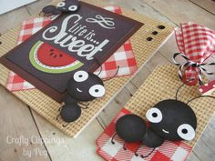 Picnic Ant card Summer Card Watermelon by CraftyClippingsbyPeg