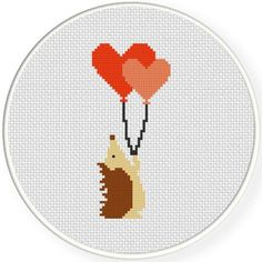 FREE Hedgehog With Balloons Cross Stitch Pattern More