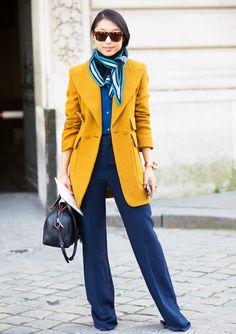 Navy trouser pants, mustard blazer + silk scarf