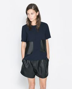 ZARA - WOMAN - TOP WITH LEATHER POCKET