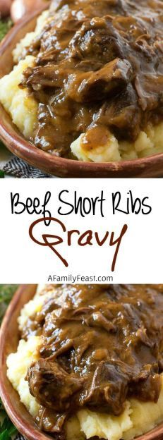 Beef Short Ribs Gravy - Fall-off-the-bone tender beef in a rich, incredible gravy. Ultimate comfort food!