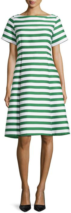 Kate Spade New York Short-Sleeve Striped Fit & Flare Dress