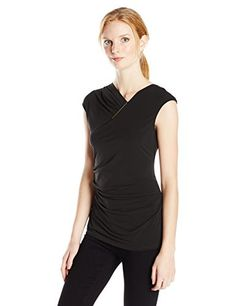 Calvin Klein Womens SL VNeck W Bar Hardware Black Small *** More info could be found at the image url.