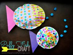 """We have some ocean themed kids crafts to share with you this week. We happened to pick up """"Hooray for Fish"""" by Lucy Cousinsat the library theother week and next thing I knew making fish crafts just sounded like lots of fun. We got out some paper, Dot Markers and other supplies and out came …"""