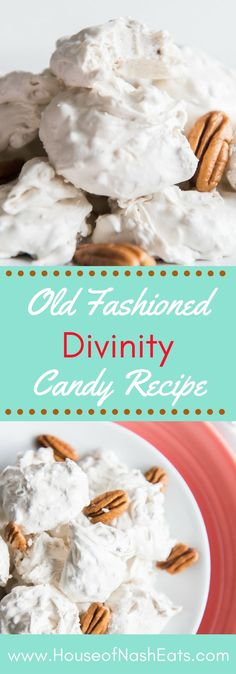 This Old Fashioned Divinity Candy Recipe is a wonderful Southern confection that is perfect for adding to a plate of goodies to share with loved ones during the holidays! Made with pecans and vanilla but with lots of variations like maraschino cherry Fudge Recipes, Candy Recipes, Holiday Recipes, Cookie Recipes, Dessert Recipes, Recipes Dinner, Christmas Recipes, Pasta Recipes, Crockpot Recipes