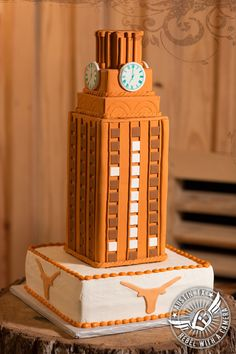 UT Tower groom's cake by Cakes by Kathy at Gabriel Springs Event Center in Georgetown, Texas.