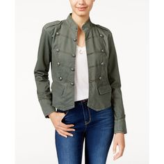 American Rag Twill Band Jacket, ($38) ❤ liked on Polyvore featuring outerwear, jackets, dusty olive, twill jacket, sport jacket, olive twill jacket, army green jacket and american rag cie jacket