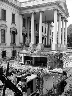White House, 1950. Workmen digging the basement under the North Portico.