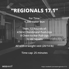 """""""Regionals 17.1"""" WOD - For Time: 1,200 meter Run; Then, 12 Rounds of:; 4 Strict Handstand Push-Ups; 8 Chest-to-Bar Pull-Ups; 12 Air Squats; All with a weight vest (20/14 lb); Time cap: 25 minutes"""