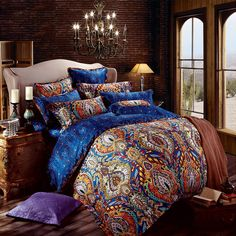 Orange and Royal Blue Bohemian Tribal Style Unique Pattern Design Luxury Egyptian Cotton Full, Queen Size Bedding Sets - EnjoyBedding.com