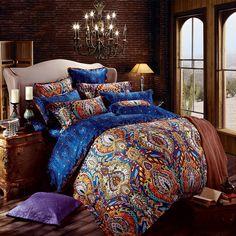Orange et bleu royal Bohême Style Motif tribal conception unique de luxe en coton égyptien complet, taille Queen ensembles de literie - EnjoyBedding.com