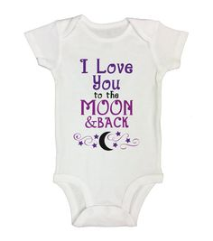 """Cute Baby Girl Onesie """" I Love You To the Moon and Back """" - Little Princess Collection - Funny Kids Clothing - Long Sleeve Option - 102"""