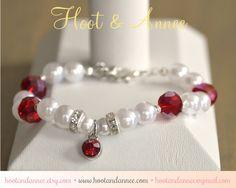 All Birthstones Available! Birthstone Bracelet, Beaded Birthstone Jewelry, July Birthstone, Red, Child, Adult, Birthstone Charm, Gemstone and Pearl by HootAndAnnee on Etsy