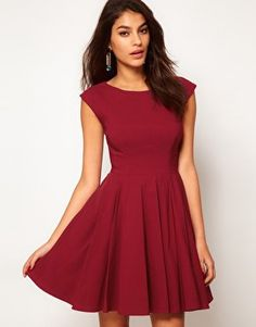 ASOS 50's Seamed Full Skater Dress at asos.com