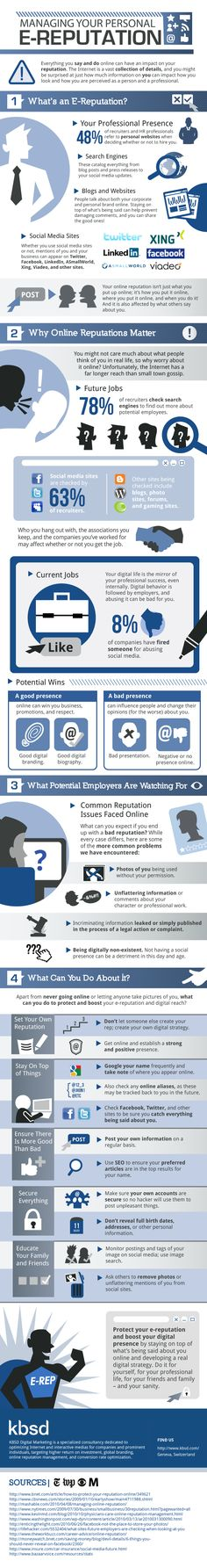 """You don't have to be running for president to care about your online reputation. Almost everything you do online is easy to track, especially when you're using social media sites. This infographic shows you how to manage your """"e-reputation,""""Internet Inbound Marketing, Marketing Trends, Marketing Digital, Content Marketing, Internet Marketing, Social Media Marketing, Facebook Marketing, Marketing Strategies, Marketing Branding"""