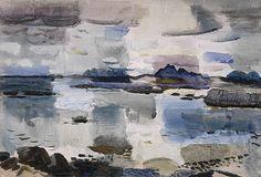 "terminusantequem: ""William George Gillies (Scottish, Skye Hills from near Morar, 1931 "" Watercolor Landscape, Abstract Landscape, Landscape Paintings, Seascape Art, Art Textile, Ciel, Street Art, Artwork, Sky Painting"