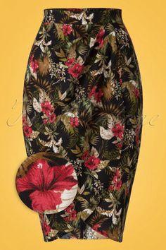 Collectif Clothing 50s Kala Lanai Sarong Skirt in Black online kopen