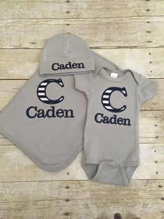 Personalized blanket bodysuit and beanie set. by BabyRuthBoutique