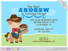 Pony Ride Boy Personalized Party Invitation-personalized invitation, photo card, photo invitation, digital, party invitation, birthday, shower, announcement, printable, print, diy,horse, western, cowboy
