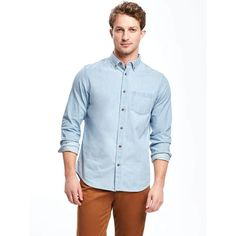 Old Navy Mens Regular Fit Classic Chambray Shirt ($32) ❤ liked on Polyvore featuring men's fashion, men's clothing, men's shirts, men's casual shirts, old navy mens shirts, mens short sleeve chambray shirt, mens regular fit shirts, mens longsleeve shirts and mens half placket shirt