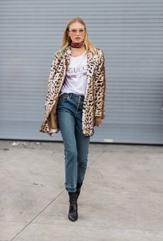 NEW YORK, NY - FEBRUARY 14: Dutch model Romee Strijd wearing a Gucci tshirt, leopard print kaclet, cropped denim jeans, ankle boots outside Tory Burch on February 14, 2017 in New York City. (Photo by Christian Vierig/Getty Images) via @AOL_Lifestyle Read more: https://www.aol.com/article/lifestyle/2017/02/15/nyfw-street-style-day-6-new-york-fashion-week/21714646/?a_dgi=aolshare_pinterest#fullscreen