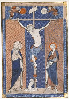 """An exquisite example """"of that art which, at Paris, they call illumination,"""" this painting on parchment was once set into a missal, containing the liturgical texts for the celebration of the Mass. Here, as Jesus hangs on the cross, flanked by the Virgin Mary and Saint John, the diminutive figure of Adam rises from a sarcophagus at the foot of the cross and collects the sacrificial blood that spills from the wound in Christ's foot in a chalice of the type used in contemporary services"""
