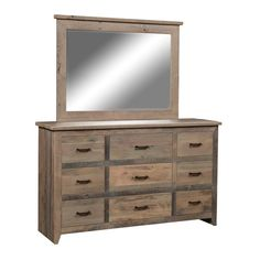 Reclaimed Barnwood Midland 9 Drawer Dresser Lots of rustic style storage in this farmhouse chic dresser. Made with recycled oak barnwood. Option to add matching mirror. Choice of stain and hardware. For your beautiful bedroom, this dresser will last decades. #reclaimedfurniture #reclaimedbarnwood #barnwood #barnwooddresser