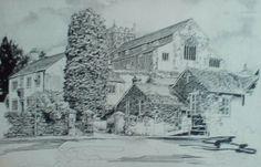Old Grammar School and Church, Hawkshead, English Lake District, original drawing by Karl Stedman, kstedmanart@aol.com