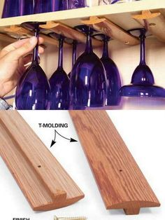 OMG>>>this is the most fabulous thing I ever seen! #DIY wine glass holders for your home made bar or cupboard.