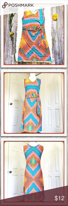 Fun Print Boston Proper Dress Adorable cotton dress with vibrant colors.  Has a small bleach mark as noted in last picture but would make a great beach dress or cover up.  Price will reflect damage.  Measurements are from laid flat:  arm pit to arm pit: 16 in, waist at round belt area - 15 in, hip - 18 in, and length from top of shoulder to hem - 39 in. Boston Proper Dresses Midi