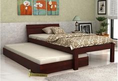Shop Morenz Trundle Bed Online India with alluring Mahogany Finish. The trundle beds are very appealing bedsteads which prove to be space efficient. Buy trundle bed online with great offers in Murphy Bunk Beds, Best Murphy Bed, Murphy Bed Plans, India Home Decor, Easy Home Decor, Wooden Trundle Bed, Trundle Beds, Dinning Table Design, Wooden Street