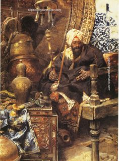 Charles Bargue Arab Merchant Among His Antiques, painting Authorized official website