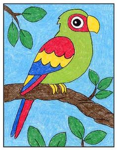 Once you learn how to draw a parrot, you can go on to finish it with any color combination that you want. The variations they come in seem to be endless. Bird Drawing For Kids, Cute Drawings For Kids, Drawing Pictures For Kids, Painting For Kids, Art For Kids, Oil Pastel Drawings Easy, Art Drawings Sketches Simple, Bird Drawings, Colorful Drawings