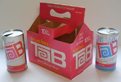 The original Tab was so good, then they ruined it.  Sugar Free TAB Soda Vintage 1960s 6 Pack Bottle Carrier and Cans by Christian Montone, via Flickr